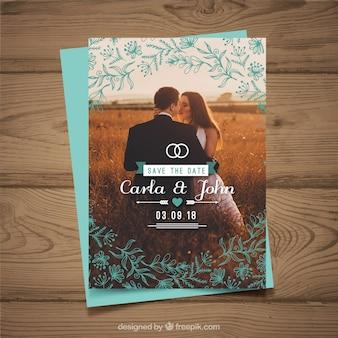 Molde de convite de casamento com casal
