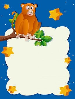Molde de fundo com macaco à noite