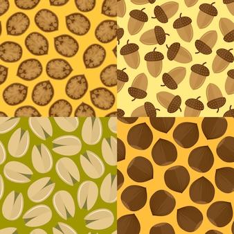 Molde de nozes e sementes com padrões sem costura, ilustração vetorial isolada.