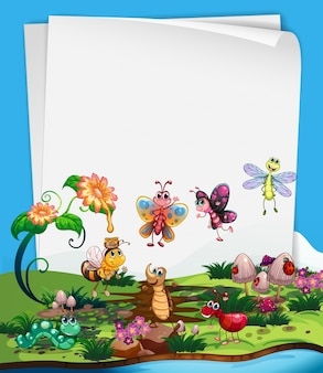 Molde de papel com insetos no jardim