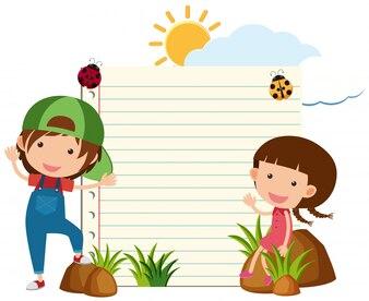 Molde de papel de linha com menino e menina no jardim