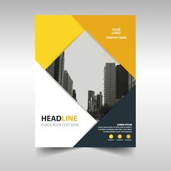 Molde de tampa do livro amarelo preto criativo relatório anual