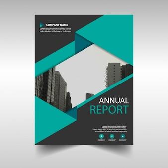 Molde de tampa do relatório anual de verde e preto