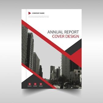 Molde de tampa do relatório anual preto vermelho