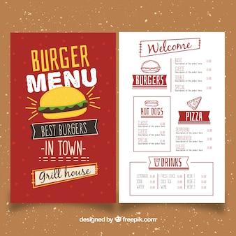 Molde desenhado mão do menu do hamburguer
