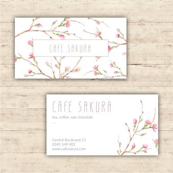 Molde do cartão da aguarela com flores