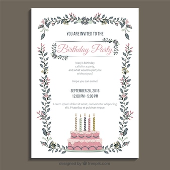 Molde do convite da festa de aniversário