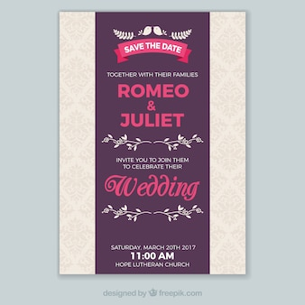 Molde do convite do casamento com detalhes da cor