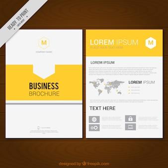 Molde do folheto do negócio com detalhes amarelos