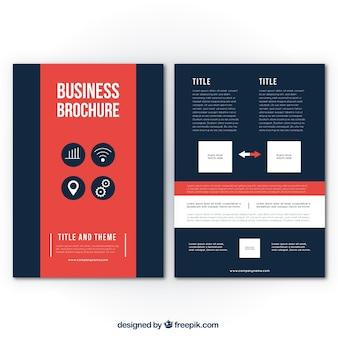 Molde do folheto do negócio com detalhes vermelhos