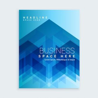 Molde do folheto do negócio com formas abstratas azuis