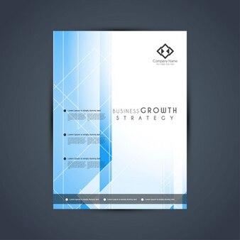 Molde do folheto do negócio geométrica azul elegante