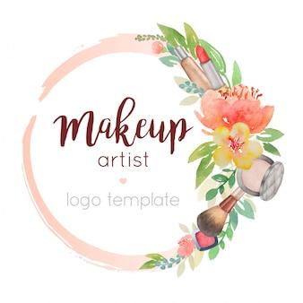 Molde do logotipo da aguarela do artista de maquiagem com decoração de flores