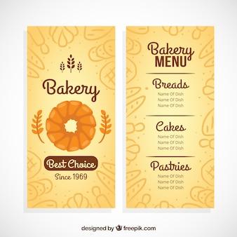 Molde do menu da padaria com produtos de esboços