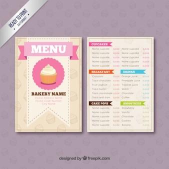 Molde do menu da padaria
