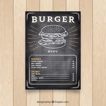 Molde do menu do fast food no quadro-negro
