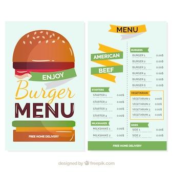 Molde do menu do hamburguer com cores grandes