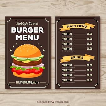 Molde do menu do hamburguer com fitas alaranjadas