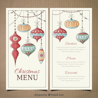Molde do menu do Natal com baubles tirados mão