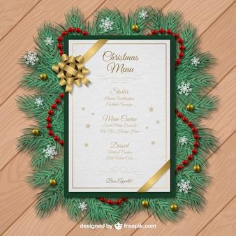 Molde do menu do Natal com decoração guirlanda