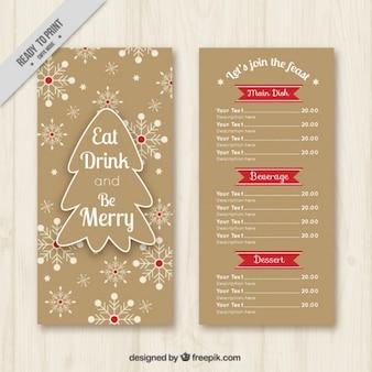 Molde do menu do Natal do vintage com flocos de neve e árvore de Natal