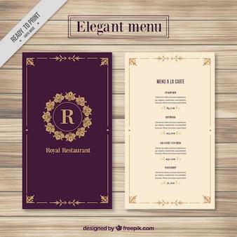 Molde do menu elegante