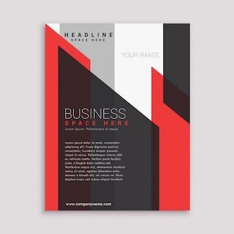molde do projeto do folheto do negócio panfleto em tons preto e branco vermelho