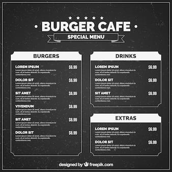 Molde escuro do menu do hamburguer