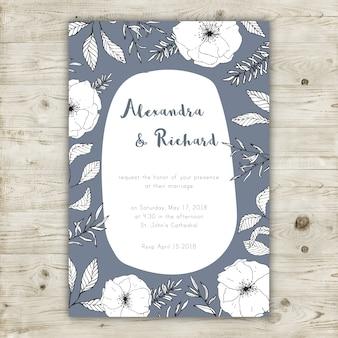 Molde gráfico cinzento e branco do convite do casamen