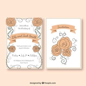 Molde Hand-drawn do convite do casamento