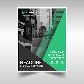 Molde verde creativo da tampa do livro do relatório anual