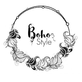 Moldura de estilo Boho com decoração étnica de ornamentos florais, Design de elementos decorativos desenhados à mão.