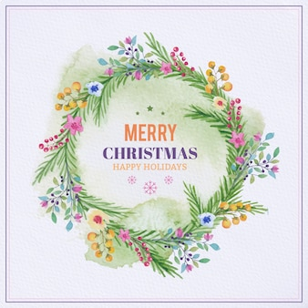 Moldura de Natal de aquarela