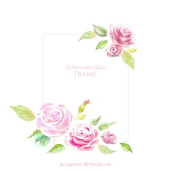 Moldura decorativa com rosas aquarela