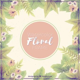 Moldura floral aquarela com folhas tropicais