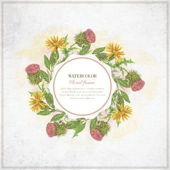 Moldura floral aquarela vintage com tipografia