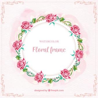 Moldura floral circular com lindas rosas