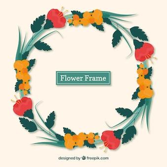 Moldura floral colorida com design circular