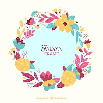 Moldura floral colorida com design plano