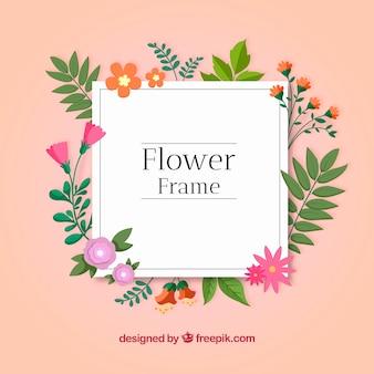 Moldura floral com estilo divertido e design plano