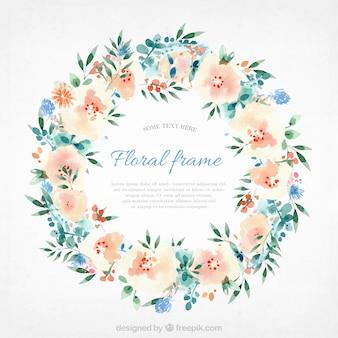 Moldura floral de aguarela com estilo adorável