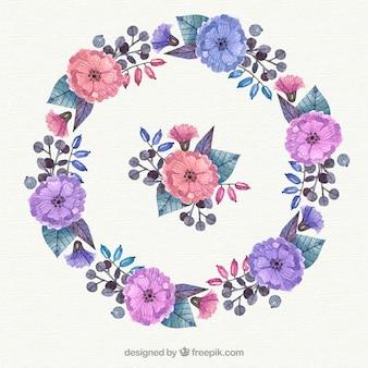 Moldura floral de aguarela com estilo artístico