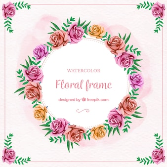Moldura floral de aguarela com rosas multicoloridas