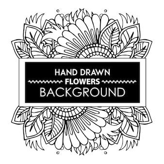 Moldura floral desenhada a mão em preto e branco