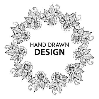 Moldura floral desenhada à mão