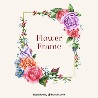 Moldura moderna com flores coloridas