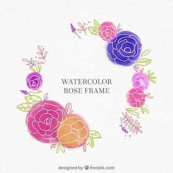 Moldura rosa de aquarela
