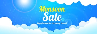 Monsoon Sale banner design com nuvens.