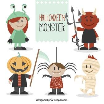 Monstros feliz pronto para Halloween