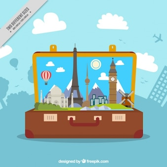 Monumentos coloridas em uma mala de viagem